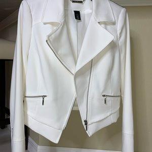 White House Black Market White Zipper Moto Jacket